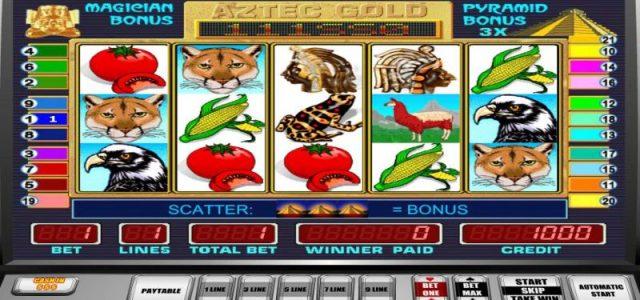 Snimka ekrana Aztec Gold slot igre.